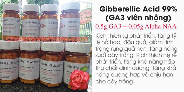 Bán Gibberellic Acid 0,5g GA3 + 0,05g Alpha NAA dạng viên nhộng (Mỹ)