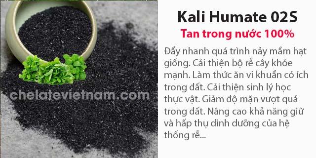 Bán Kali Humate 02S (Tan 100%) Acid humic (Dry) : 55 - 65%; K2O : 6 - 10%.
